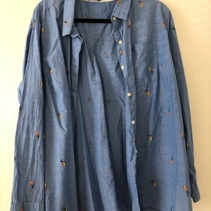 Old Navy Button Down Shirt with Bird Pattern